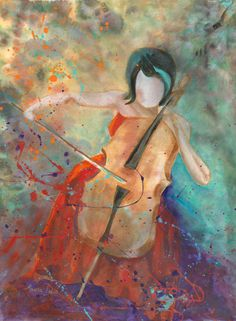 I want this painting! Cello Girl - because my cello arrived this week and I'm so excited. learning to play the cello - tick that one off the bucket list. Cello Art, Cello Music, Cellos, Music Artwork, Artwork Paintings, Instruments, Classical Music, Love Art, Art Girl