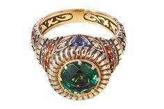 женский перстень.золото с чернением,турмалин,сапфиры,иолиты
