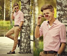 H&M Sand Color Chinos, Primark Brown Leather Loafers, Primark Brown Leather Belt, Brown Oversized Watch, H&M Pink Checked Shirt, H&M White T Shirt, Primark Brown Leather Bracelet, Primark Brown Sunglasses