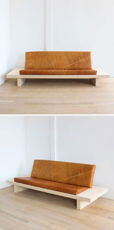 This modern sofa is made out of plywood and the cushions are covered in leather from tandyleather.com. Visit the page for the full material list + instructions! http://www.homemade-modern.com/ep111-diy-modern-plywood-sofa/ #DogProyects