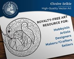 Selkie Vector Art, Fantasy Clipart, Royalty-Free Licence (Personal, Non-Profit or Commercial Use)