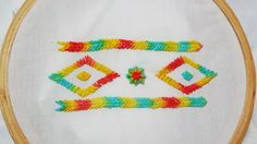 Hand Embroidery: Combination of Fly, herringbone, and spiderweb stitch - YouTube