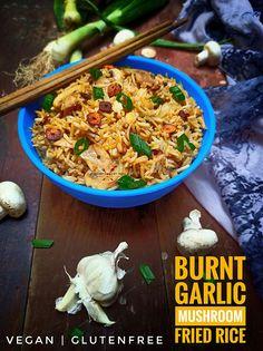 Garlic Mushrooms, Stuffed Mushrooms, Leftover Rice, I Foods, Burns, Gluten Free, Vegan, Ethnic Recipes, Sin Gluten