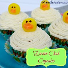 Make these adorable Easter Chick Cupcakes to charm all your Easter guests and family. They make an adorable centerpiece on a bed of Easter basket grass too!