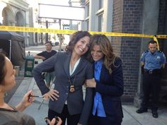 "From Lisa on twitter- ""Solving crimes with @stana_katic!!"" These two are so totally adorable. But why does Stana have poor Lisa in a death grip? Hehe"