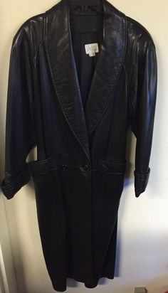 Vintage Vakko Long Black Leather Trench Coat! Size S. Made In The USA! #Vakko #Trench
