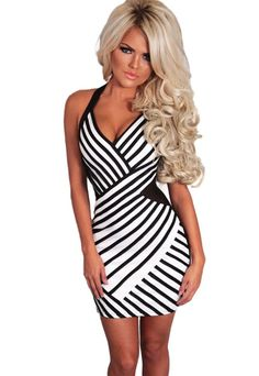 1f2bd41ec5 Women dresses summer black and white dress striped mesh halterneck sexy  dress club wear vestido de noiva