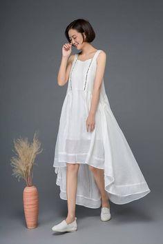 4f0a2b2efef White linen dress cute dress summer dress embroider dress