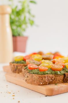 Bruschetta is an appetizer or antipasto from Italy. There are many variations, but this is our favourite recipe. We've used vegan pesto.