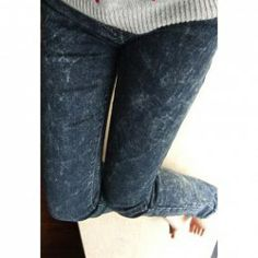 $6.18 Chic and Cheap Slim-Fit Washed Denim Tapered Jeans For Women