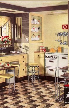 1936 Yellow Armstrong Design Kitchen pull out kitchen