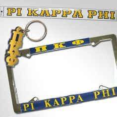 Catered specifically for Pi Kappa Phi, this special package includes everything you need for your car! Rush service is available for a fee of of total. Fraternity Letters, Pi Kappa Phi, License Plate Frames, Packaging, Car Decal, Accessories, Ideas, Style, Products