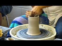 ▶ Virginia Scotchie shows how to pull up clay after it's centered Part 1 - YouTube