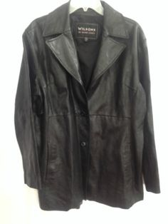 Wilsons-Leather-Coat-Women-XL-Black-Car-Jacket-Blazer-Princess-Seams-Lapels