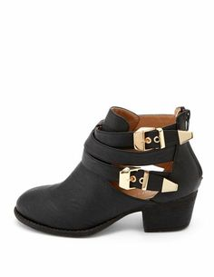 362b105900a Double Buckle Cutout Ankle Bootie  Charlotte Russe