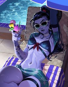A Perfect 10 by vashperado.deviantart.com on @DeviantArt - More at https://pinterest.com/supergirlsart #overwatch #summer #games #summergames #widowmaker #bikini #pool #fanart