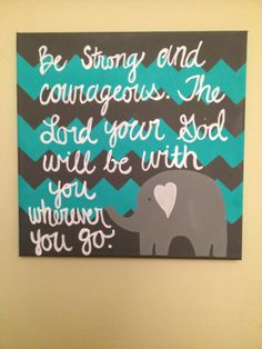 Hand painted canvas with Elephant and Bible Verse Baby or Child room Decoration from TheGiftedBaby on Etsy. Hand Painted Canvas, Canvas Art, Canvas Ideas, Canvas Paintings, Canvas Quotes, Diy Canvas, Paint Chevron, Art Projects, Messages