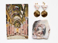 vintage postcard   redline marble and hammered brass earrings  