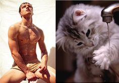 Hilarious Photos of Sexy Men and Adorable Cats in Similar Poses