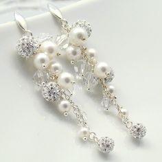 Swarovski Crystal EARRINGS | Long Earrings, Swarovski Crystal Pearls Sterling 925,Bridal Jewelry ...