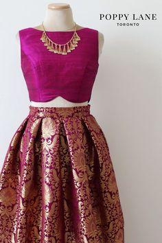 Raw silk blouse brocade skirt