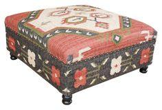 Fiona Kilim Upholstered Storage Ottoman