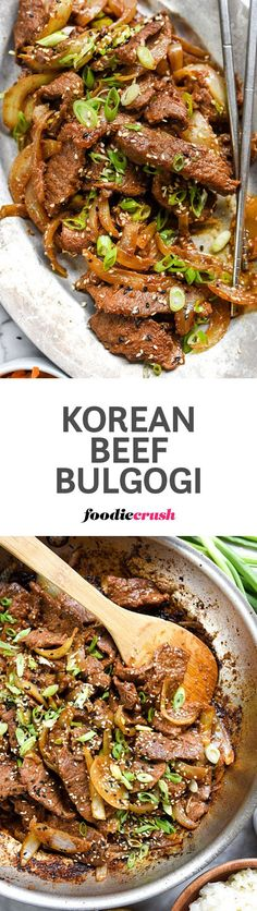 A simple but flavorful marinade of soy sauce and Korean spice paste sweetened with Asian pear makes this thinly sliced beef a stand out dinner | foodiecrush.com  #korean #beef #bulgogi #dinner