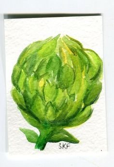 Original Artichoke Watercolor Painting ACEO by SharonFosterArt, $7.50