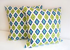 Decorative Pillow Covers. 20 x 20 Inch Throw Pillows. Accent Pillows. Turquoise, Chartreuse Diamond