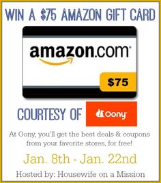 Welcome to the $75 Amazon Gift Card Giveaway sponsored by Oony.com and hosted by Housewife on a Mission! Who loves great deals and using coupons when they shop? If you haven't heard of this site al...