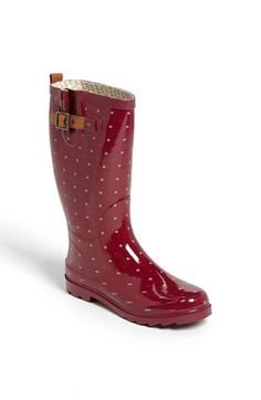Maroon Polka dot rainboots by Chooka Hunter Wellies, Wellies Boots, Hunter Boots, Bootie Boots, Shoe Boots, Shoes Sandals, Sock Shoes, Cute Shoes, Me Too Shoes