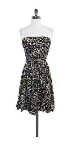 BCBG Black & Tan Print Silk Strapless Dress