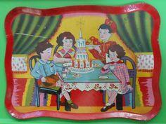 """Rare Tin Litho Childs Toy Tea Set Tray Circa 1920 7 1/2"""" x 5 5/8"""" ~ Ray Rohr Est"""