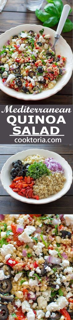 All the flavors of Mediterranean cuisine in one bowl! Healthy and so easy to mak… All the flavors of Mediterranean cuisine in one bowl! Healthy and so easy to make, this Mediterranean Quinoa Salad makes a perfect lunch or dinner. Diet Recipes, Vegetarian Recipes, Cooking Recipes, Healthy Recipes, Recipies, Recipes Dinner, Healthy Quinoa Recipes, Quinoa Meals, Bulgur Recipes