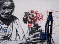 muralist, urban artist, fantastico > el Mac  working on project, Campeche, México, 2010