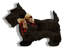 This little black Scottie dog is perfect for your holiday decorating. Made from wooden panels, he is painted black and then distressed with gold on the edges. Scottish plaid ribbon around his neck for that special touch. Measures about 22 inches long.