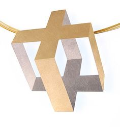 """Cage"". Claude Chavent Pin/Pendant. 18K Yellow Gold, Platinum, Needle Stainless Steel"