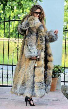 NEW GOLD CROSS FOX LONG FUR COAT HOOD CLASS- CHINCHILLA SABLE JACKET MINK SILVER