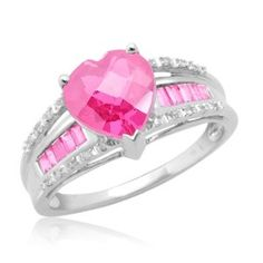 10k White Gold Heart-Shaped and Baguette Created Pink Sapphire with Diamonds Heart Ring, Size 9 $209