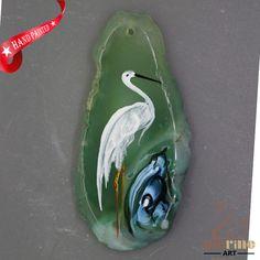 Unique Hand Painted crane Pendant Natural Gemstone With Silver Bail  ZL807009 #ZL #Pendant