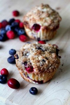 Blueberry and Cranberry Crumb Muffin.