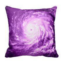 Purple Spiral Pinwheel Throw Pillow