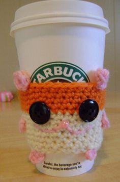 Crochet hamster coffee cozy made by Twinkie Chan