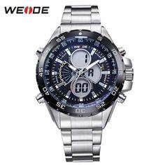 WEIDE 2018 New Watches Men Luxury Brand Full Steel Quartz Clock Led Digital Military Watch Sport Wristwatch Relogio Masculino