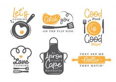 Set of cooking quotes label, typography and lettering Premium Vector Logo Restaurant, Bakery Logo, Logo Food Truck, How To Cook Pasta, How To Cook Chicken, Menu Burger, Logo Generator, Logo Café, Logo Boulangerie