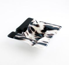 Black and White Fused Glass Ash Tray, Smoking Accessories, Ash Catcher, Cigar Ashtray, Cigarette Tray, Modern Home Decor, Cool Gifts for Men