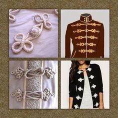 Good morning, do you know what the Alamares are? Embroidery Applique, Embroidery Patterns, Crochet Patterns, Black Parade Jacket, Clothing Patterns, Dress Patterns, Soutache Tutorial, Military Inspired Fashion, Passementerie