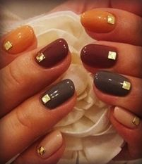 Earth-Toned Nails with Gold Jewels