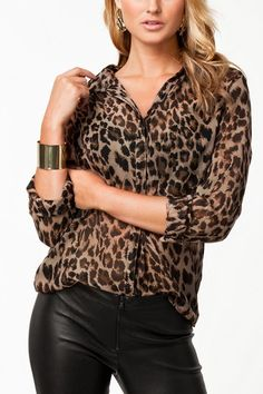 Leopard shirt with leather pants