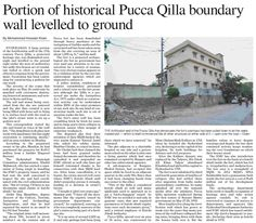 Portion of historical Pucca Qilla boundary wall levelled to ground   ePaper   DAWN.COM
